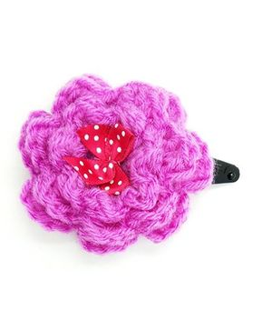 Magic Needles Tic Tac Hair Clip Rose With Bow - Purple