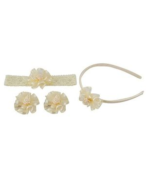 Babies Bloom Hair Accessory Set Pack Of 4 - Light Yellow