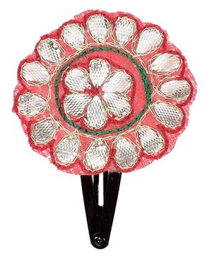 Miss Diva Ethnic Shinning Flower Applique Tic Tac - Pink And Silver