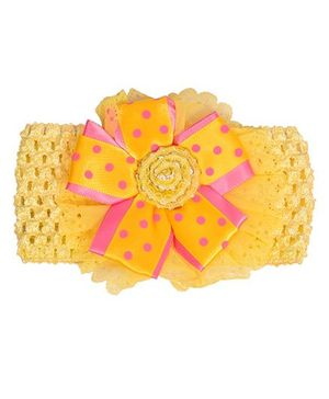 Miss Diva Elegant Polka Dotted Bow Broad Soft Headband - Yellow