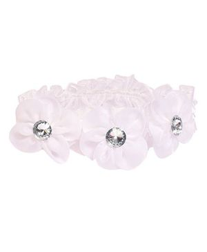 Miss Diva 3 Flower Shinning Diamond Flower Soft Headband - White
