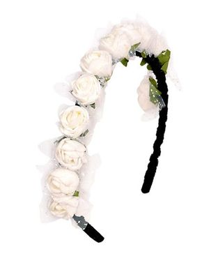 Miss Diva Elegant Floral Hair Band - White
