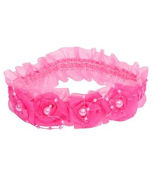 Miss Diva Lovely Pearl Studded Multi Flowers Soft Headband - Magenta