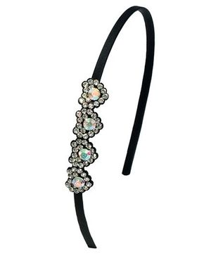 Miss Diva Gorgeous Diamond Studded Hearts Hairband - Black
