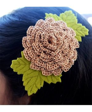 Pretty Ponytails Big Crochet Flower Hair Clip - Golden & Green