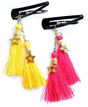 Pretty Ponytails Set Of 2 Boho Tassels Hair Clip - Pink & Yellow