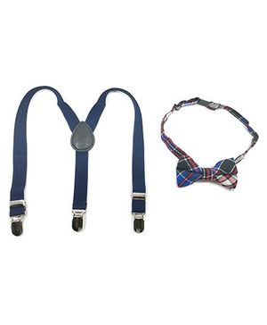 Kidofash Elastic Suspender & Bold Checkered Printed Bowtie - Multicolor