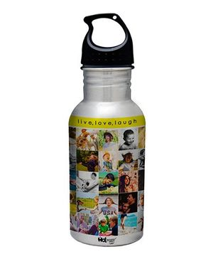 Hot Muggs Stainless Steel Water Bottle Live Love Laugh Print - 600 ml