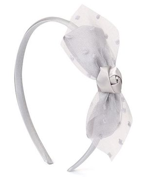 Babyhug Hair Band With Flower & Bow Applique - Light Grey