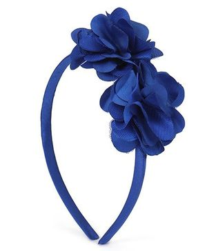 Babyhug Hair Band With Double Flower Motif - Blue