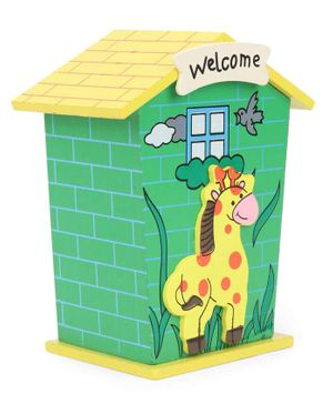 House Shaped Wooden Money Bank Giraffe Design - Yellow & Green