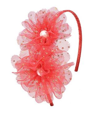 Miss Diva Double Elegant Stary Flower Hairband - Red