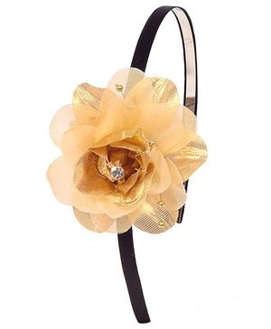 Miss Diva Elegant Party Wear Flower Hairband - Golden