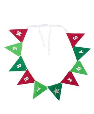 Li'll Pumpkins Merry X-Mas Triangle Buntings - Red & Green