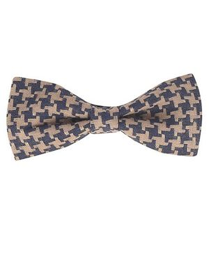 Knotty Kids Houndstooth Print Bow Tie - Dark Blue & Beige
