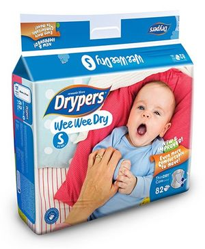Drypers Wee Wee Dry Diapers Small Size - 82 Pieces