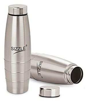 Sizzle Fridge Water Bottle Pack of 2 Silver - 1000 ml
