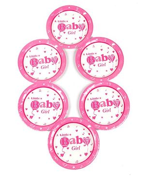 Funcart Disposable Paper Plates Baby Girl Theme Pink Pack of 6 - 17.7 cm Each
