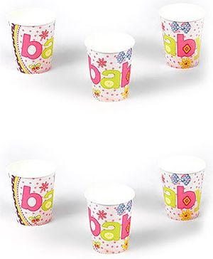 Funcart Butterfly Theme Paper Cups Multi Color Pack of 6 - 266 ml each