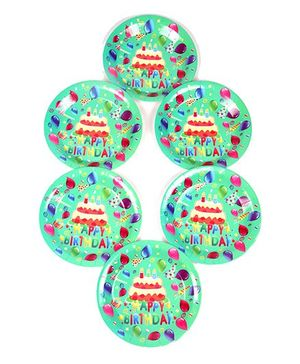 Funcart Disposable Paper Plates Birthday Theme Green Pack of 6 - 22.8 cm Each