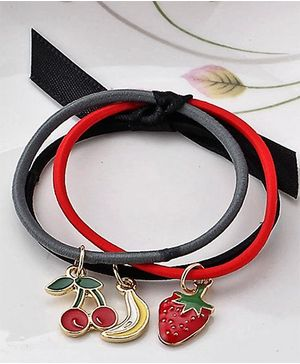 Bobbles & Scallops Fruit Charm Hair Tie Set Of 3 - Black Red & Grey