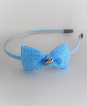 Bobbles & Scallops Glitter Buckle Bow Hairband - Blue