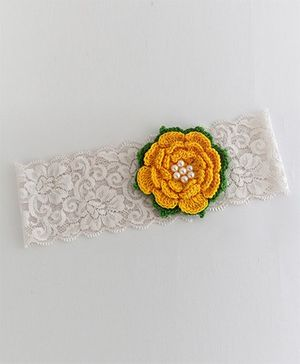 Bobbles & Scallops Lace With Crochet Flower Headband - Yellow