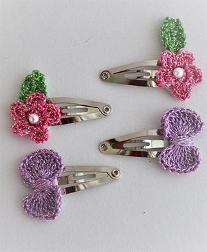 Bobbles & Scallops Flower & Bow Set - Pink & Purple