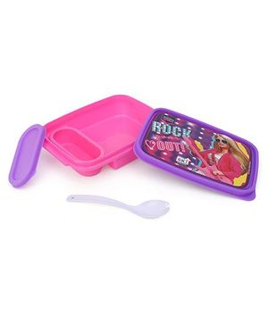 Barbie Lunch Box With 2 In 1 Fork Spoon - Pink Purple