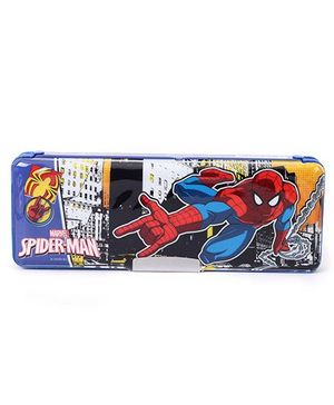 Marvel Spiderman Dual Sided Pencil Box With Sharpener - Blue Red