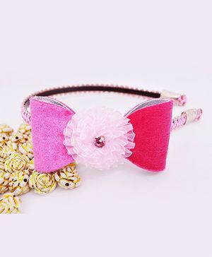 Little Tresses Shimmer Bow With Flower Center Hairband - Light Pink