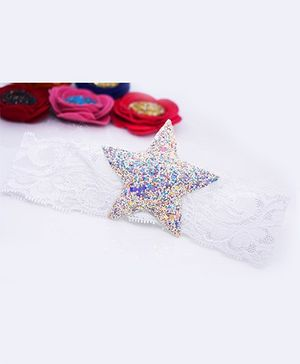 Little Tresses Glittery Star Lace Soft Stretchable Headband - White