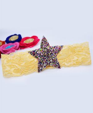 Little Tresses Glittery Star Lace Soft Stretchable Headband - Multicolor & Golden
