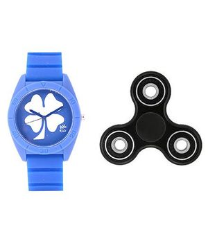Fantasy World Floral Design Watch & Spinner Combo - Blue & Black