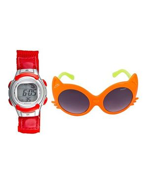 Fantasy World Watch & Sunglasses Combo - Red & Orange