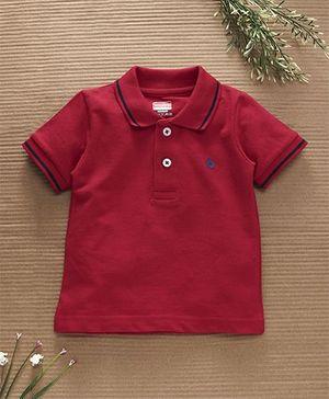 Babyhug Half Sleeves Cotton Polo T-Shirt - Red