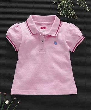 Babyhug Half Sleeves Cotton Polo T-Shirt - Light Pink