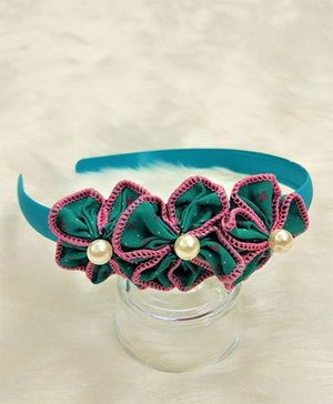 Magic Needles Pretty Multi Flower Hairband - Green