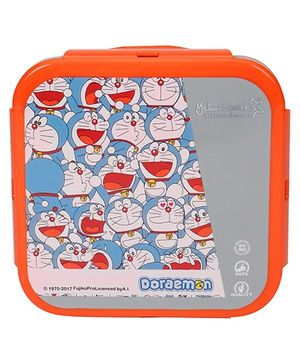 Doraemon Lunch Box With Spoon Fork & Small Box - Orange Grey