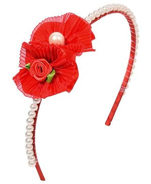 Miss Diva Double Floral With Beads Hairband - Red