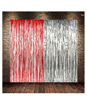 Party Propz Decorative Foil Curtain Set Of 2 - Red Silver