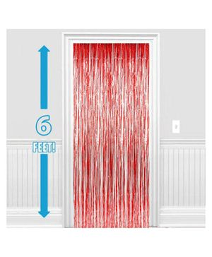 Party Propz Decorative Foil Curtain Set Of 2 - Red