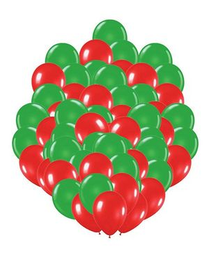 Party Propz Balloons Green & Red - 100 Pieces