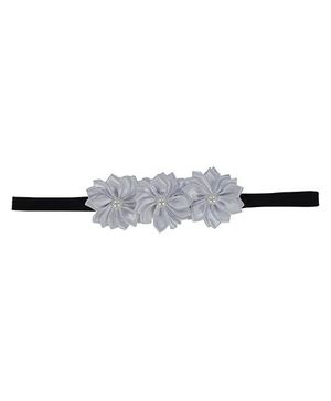 Funkrafts 3 Pearl Centred Flowers Headband - White