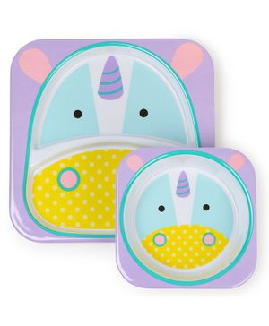 Skip Hop Bowl & Plate Set Unicorn Design - Purple Blue