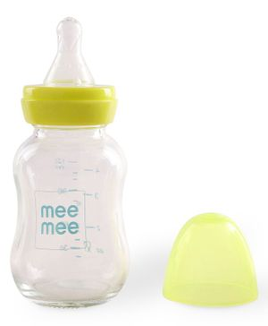Mee Mee Premium Glass Feeding Bottle Green - 120 ml