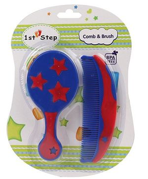 1st Step Brush And Comb Set - Royal Blue Red