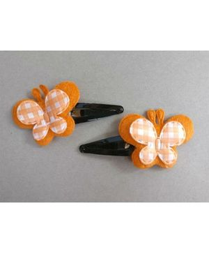 Tiny Closet Set Of 2 Butterfly Hair Clips - Orange