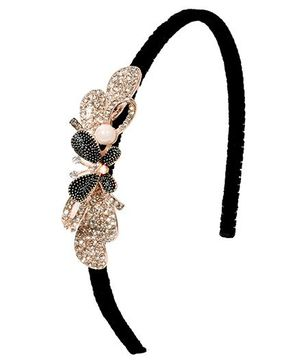 Miss Diva Butterfly Design Hairband With Diamonds - Black