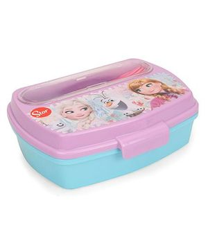 Disney Lunch Box With Spoon And Fork Frozen Print - Blue Pink